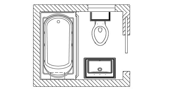 in this small bathroom plan the tub is recessed and the toilet and sink face each other on opposite walls