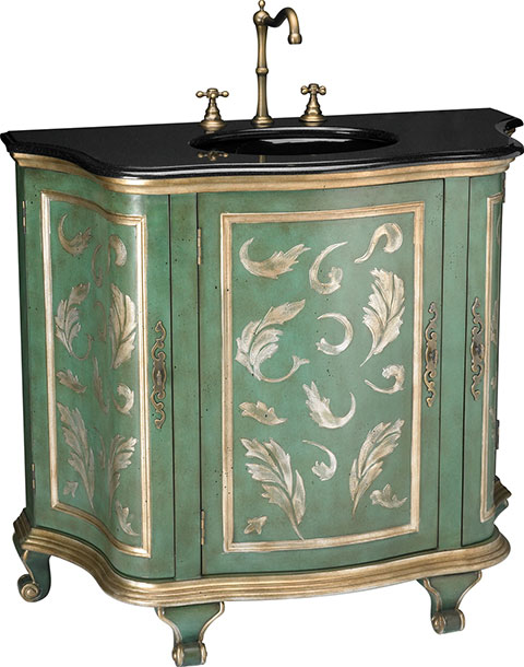 "The French antiques this silhouette is based on are so iconic that they're  instantly recognizable as ""antique,"" no matter how simple the rest of the  vanity. - Antique Style Bathroom Vanities (PHOTOS) - Victoriana Magazine"