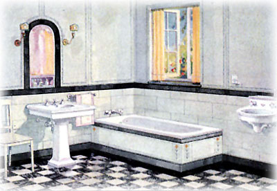 Black White Tile Bathroom