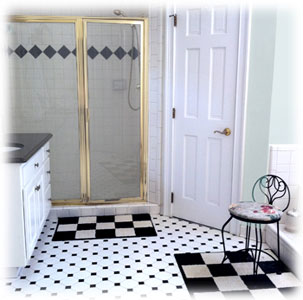 Gallery Of Black White Tile Bathroom With Gray Black And White Bathroom