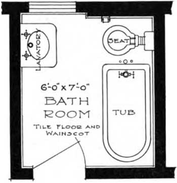 Small Bathroom Floor Plans: A space 6x7 ft. is almost the