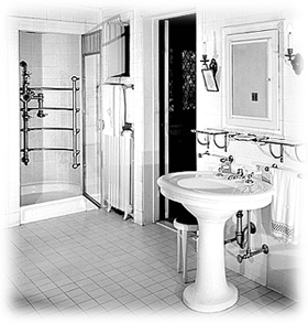 in the early 1900s vintage bath fixtures became so elaborate in number and quality that the conveniences home owners had in their bathroom were limited - 1900s Home Design