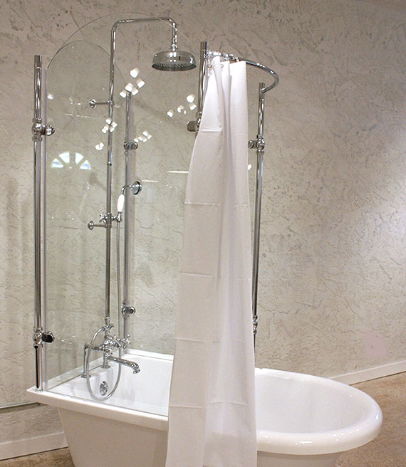 Glass Shower for Claw Foot Tub. Add Shower To Clawfoot Tub. Home Design Ideas