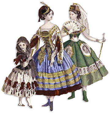 Two Victorian ladies and a child in a fancy dress
