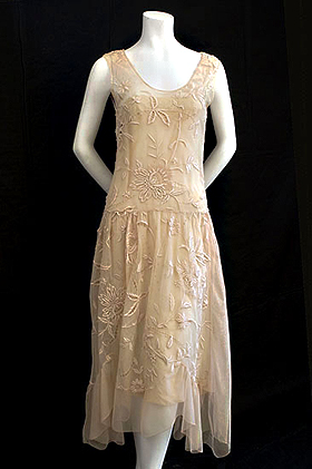 A Delicate Embroidered 1920s Dress Has Graceful Side Draperies That Give An Uneven Hem Line Photo Courtesy Of Vintage Textile