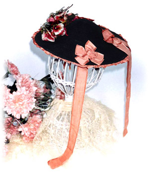 The ladies hat dates from circa 1866-68. The hat s outer edge is adorned  with ruched 1-1 4 inch wide ... 7465b3a8a4d8