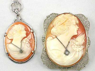 Antique cameo jewelry wearing diamond jewelry sterling silver mounted antique cameo pendant on left white gold mounted antique cameo brooch on right aloadofball