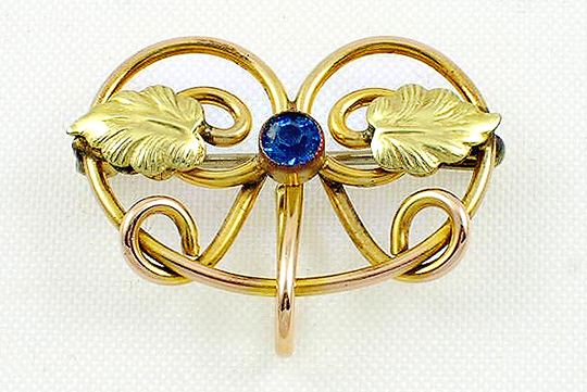 Victorian heart shaped watch pin