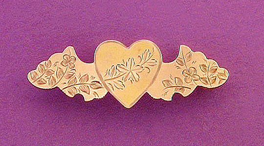 Victorian winged heart pin, rose gold-filled.