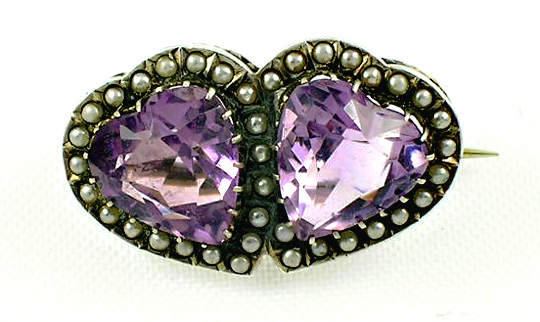 Victorian silver heart-shaped genuine amethyst and seed pearl pin.