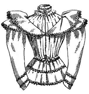 victorian blouse 1890s victorian top Boater Hat Audrey Hepburn this victorian blouse has a ruffled high collar and a tie belt it is trimmed with rows of contrasting black gimp it was available in pink heliotrope and