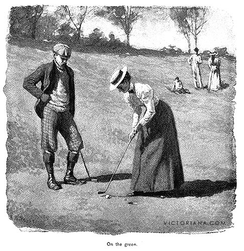 Antique golf print on the green by a b frost