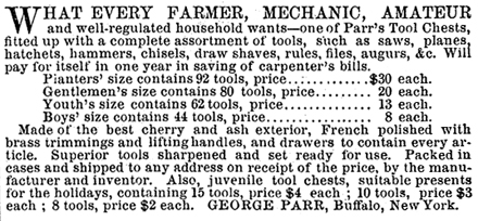 1862 ad for Geo Parr tools