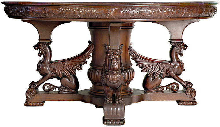 A rare antique dining table was sold at auction by auctioneer Stuart  Holman. $11,275 was the price paid by an East Coast bidder for this  dramatic carved ... - Antique Dining Table
