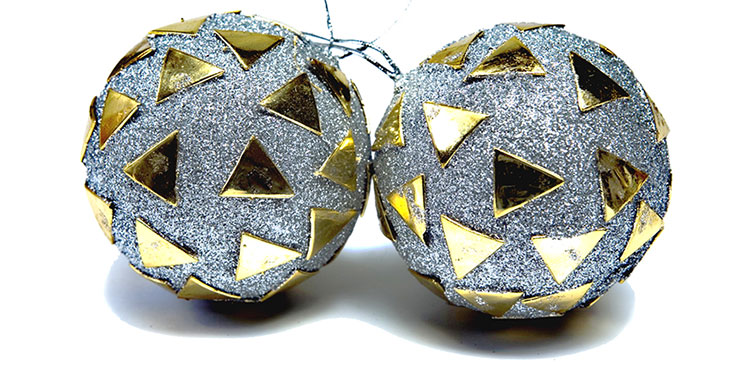 silver gilded ornaments for christmas tree