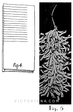 trimming made of tinfoil is in the form of fringe ruching. Use three layers of the foil and cut them into fringe