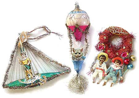 the original chromolithograph scrap and original rope tinsel has stayed with the ornament all these years antique victorian christmas ornaments like