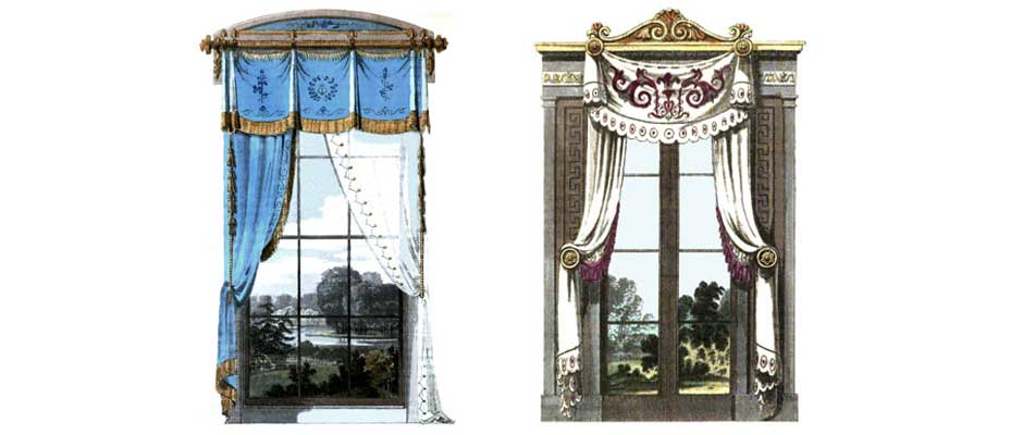 Regency era window treatments victoriana magazine for 18th century window treatments