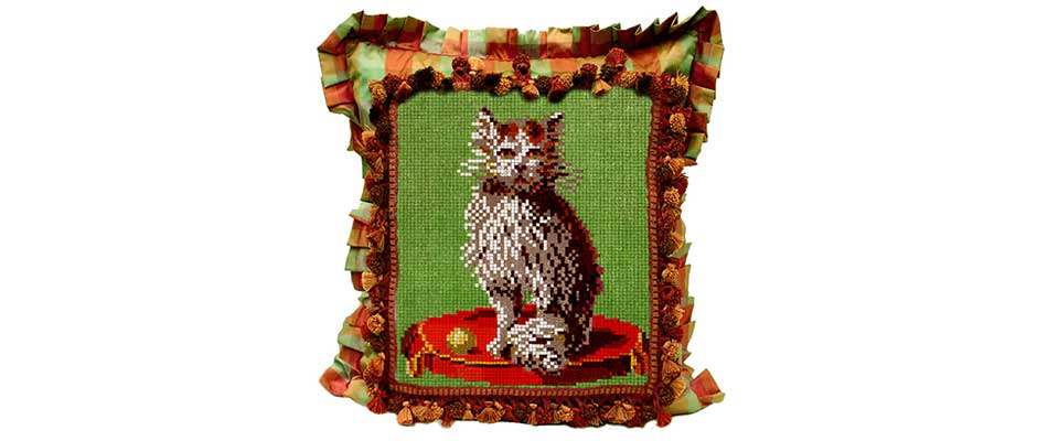 Whimsical Cat Pillow Victoriana Magazine