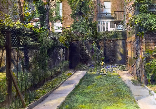 Townhouse Backyard Fence : Townhouse on West 12th Street, New York featuring a vine covered fence
