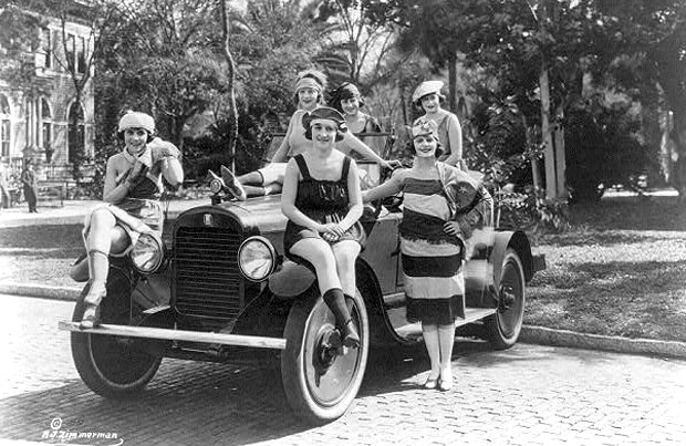 Six women dressed in bathing suits, c.1920.