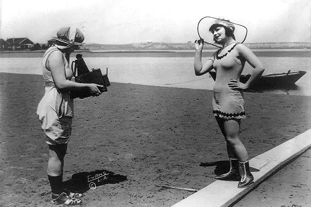 Roxy McGowan and Mary Thurman in vintage bathing suits, c.1918.