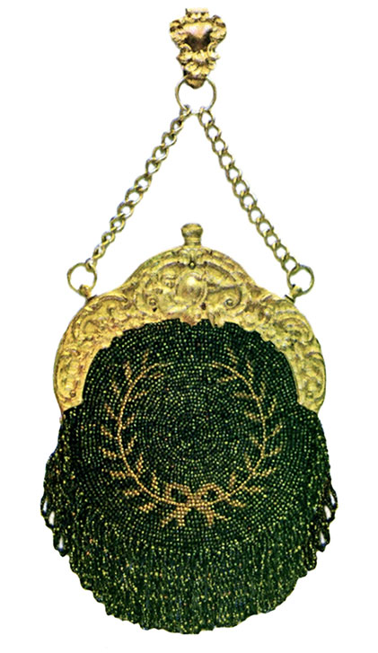 Empire Wreath Chatelaine Bag, c.1901 This is a similar design to the blue antique purse, but by the use of green iridescent and gold beads and a heavy gilt top, an entirely different effect is secured.