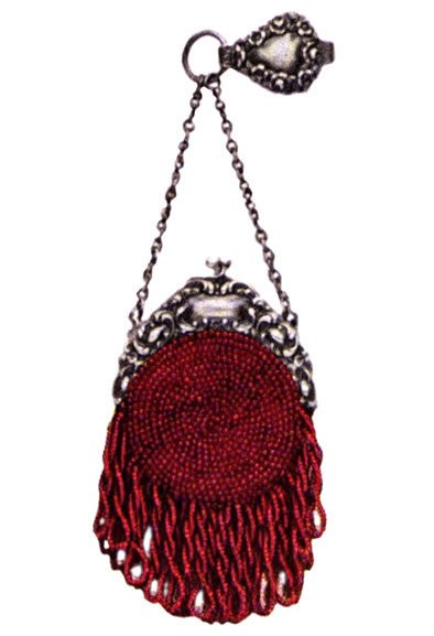 Coral Bead Coin Purse, c.1901 A little chatelaine antique purse sufficiently large for coins was often a great convenience. This one is made of coral beads on a dark red silk, and is made to fit a 2-1/2 inch top.