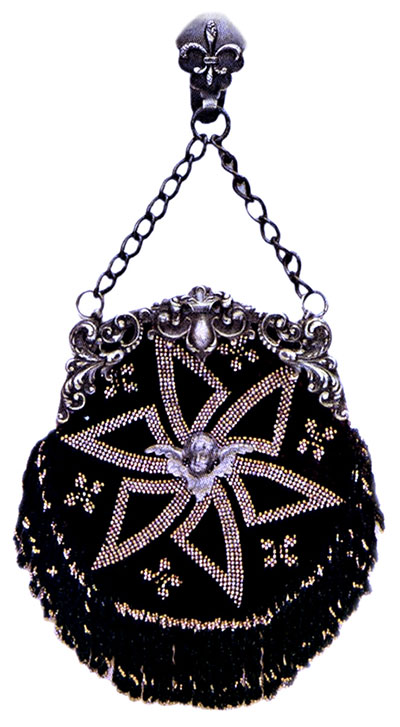 Hollow Star Design Chatelaine Bag:  Second in popularity to the solid steel bead antique purses of the early 20th century are those purses of steel beads on black. The angel's head in the center of the star makes a very pretty finish.