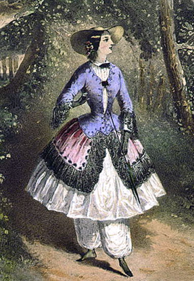 "Hand-colored lithograph of the music cover for the ""Bloomer Waltz, (costume for summer)"" published in 1851 showing a woman in the notorious bloomer costume walking along a path in a wooded area."