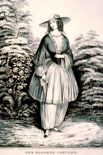 A Currier & Ives rendition of the bloomer costume, c1851.