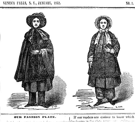 Clipping of Elizabeth Cady Stanton wearing the controversial bloomer costume in 1851.  Stanton's cousin Elizabeth Smith Miller introduced the outfit and editor Amelia Bloomer publicized its healthful and liberating benefits in her newspaper The Lily.