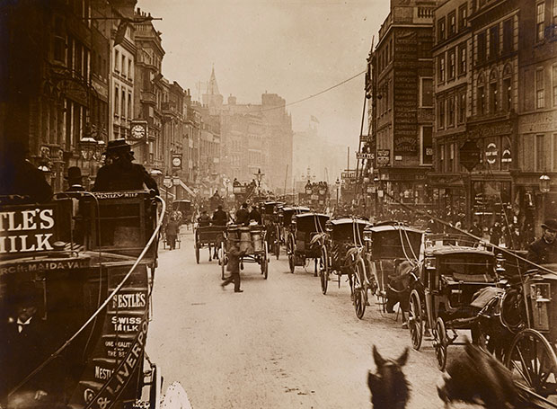 Photograph from an omnibus on High Holborn. [Image: Museum of London]
