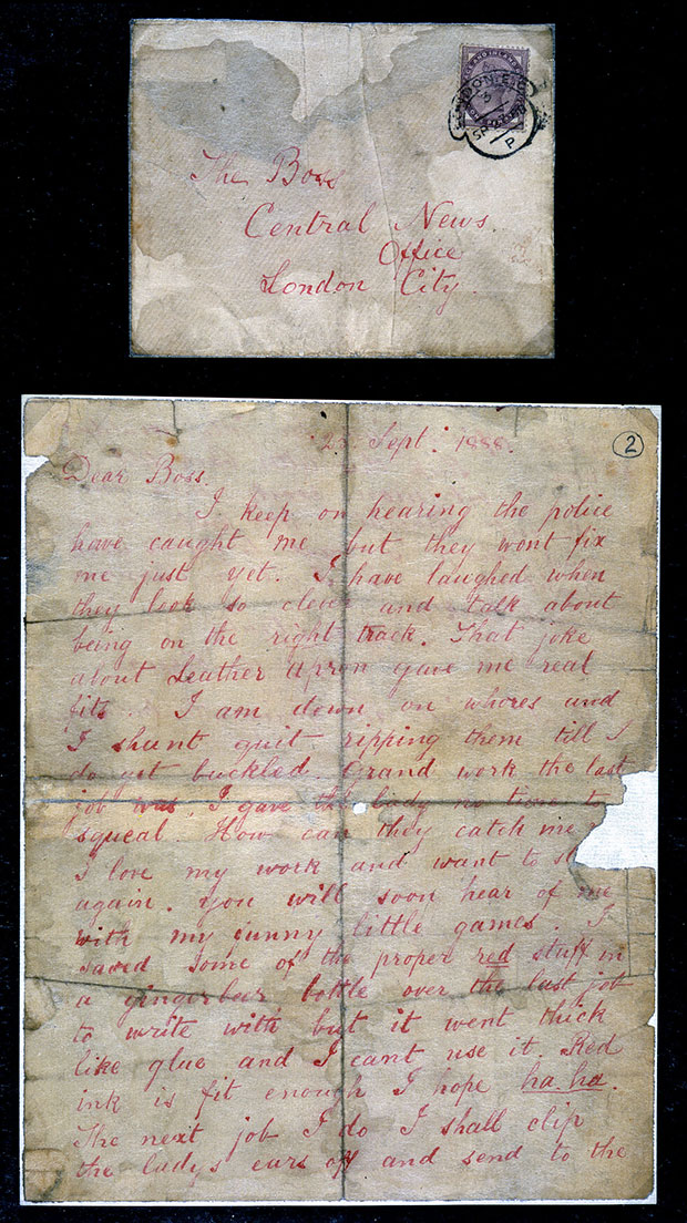 'Dear Boss' letter from Jack the Ripper. Letter to the Central News Agency, September 1888. The National Archives
