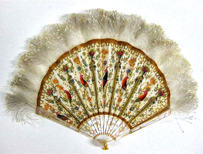 ANTIQUE FAN, C.1900 Folding fan by Duvelleroy, c. 1900 • Painted silk, feathers, mother-of-pearl • Museum of the City of New York, Gift of Mrs. William Warner Hoppin, 48.314.15