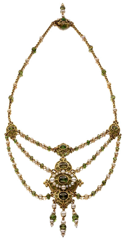 ANTIQUE NECKLACE, C.1900 Marcus & Co., Necklace, 1900 • Gold, natural pearls, demantoid garnet, enamel • Courtesy of Siegelson, New York