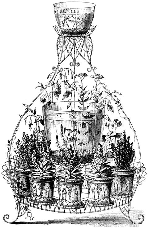 "FLOWER STAND WITH BELL GLASS AQUARIUM  From ""The Aquarium: Its Inhabitants, Structure & Management"" by John Ellor Taylor, 1876."