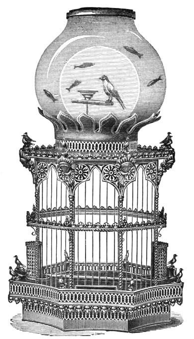 COMBINATION BIRD CAGE AND AQUARIUM
