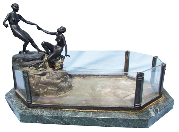 Beloit Auction & Realty Inc. sold this Theodore Ullman Art Nouveau bronze aquarium.