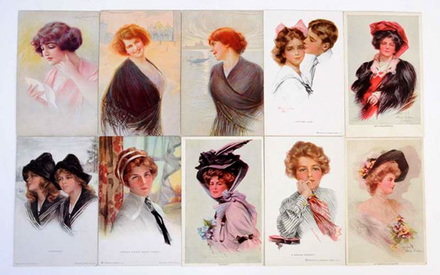 42 Art Nouveau & Art Deco postcards featuring various artists and subjects nudes, etc. Philip Boileau. Also includes six scenic view postcards that have hand-painted look. [Image credit: Morphy Auctions - www.morphyauctions.com]