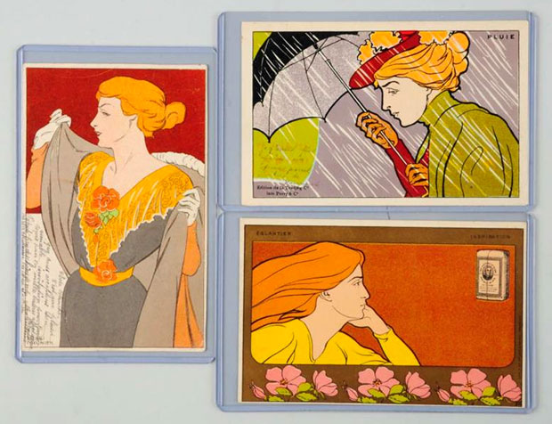 Henri Meunier Postcards - Art Nouveau. Includes Pluie card, an Inspriation card advertising coffee, and an elegant lady card with writing on the front, est. $300-$400. [Image credit: Morphy Auctions - www.morphyauctions.com]