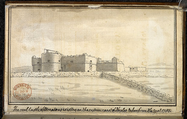 Watercolour of the Castle of Otranto in Horace Walpole's personal copy of The Castle of Otranto. Photography courtesy of the British Library.