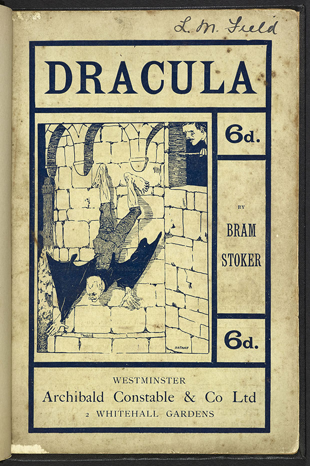 The first illustration of Dracula. Bram Stoker, Dracula by Bram Stoker. Leeds, 1901. Photo courtesy of British Library.