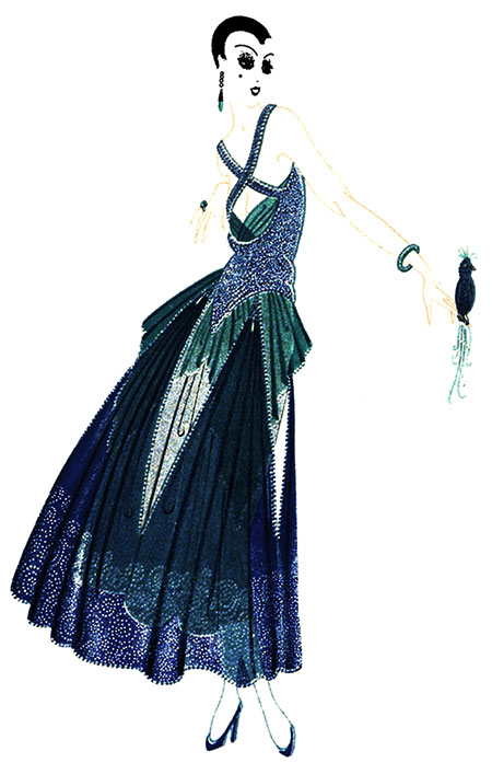 DANCING DRESS, C.1916 Extremely high backs or startling low fronts are distinguishing features of Erté designs. This dancing frock, all silver, green and blue, possesses the quality so typical of the artist. Drapery pointed down and an overskirt pointed up, hang over a short narrow petticoat of silver tissue. Earrings, bracelet, ring and bird are all part of the picture.