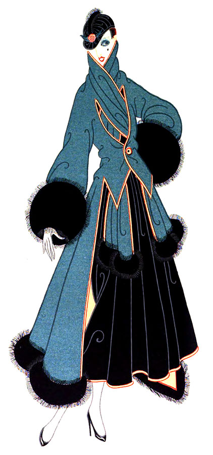 REDINGOTE, C.1916 A single button fastens the redingote of blue-green velvet and holds in place the muffler that began as a collar. Cuffs of skunk that might be individual melon muffs and a jockey cap are touches that lend charm to the costume. As for the skirt, it is short and, like the redingote, lined with orange satin which turns over the edges in a border.