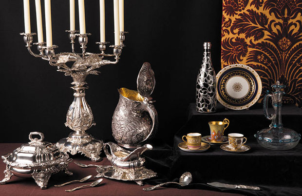 """At the table"" vignette which includes an Akos-style pitcher by Tiffany & Co. Ingalls Photography, 2012. All objects from the Museum of the City of New York. Photo courtesy of Town & Country"