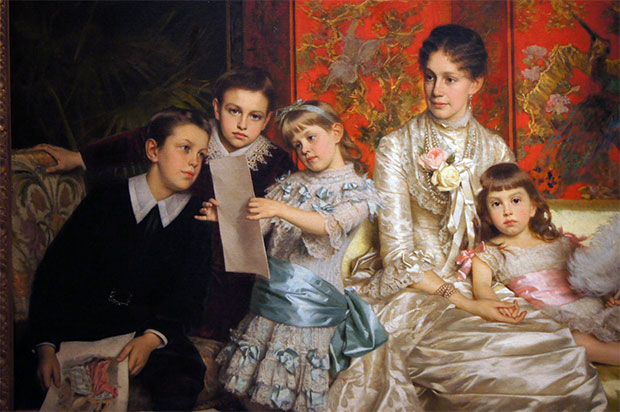 "Michele Gordigiani, ""Cornelia Ward Hall and Her Children,"" 1880 • Oil on canvas • Museum of the City of New York, Bequest of Mrs. Martha Hall Barrett, 61.155.1"