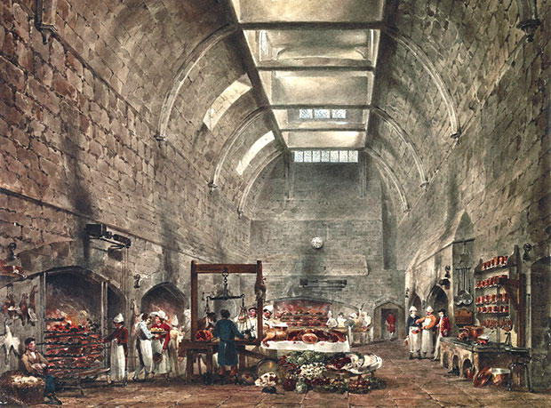 The Kitchen at Windsor Castle, 1817. [Image credit: Royal Collection Trust / (C) Her Majesty Queen Elizabeth II 2014]