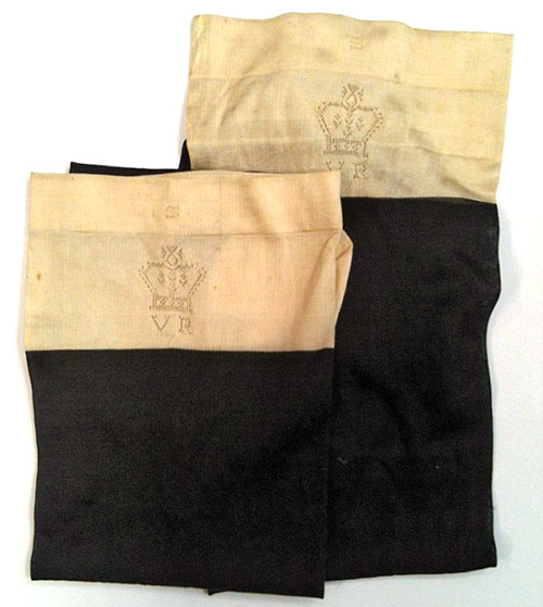 In 2013 this pair of black silk stockings belonging to Queen Victorian were sold for £1,800. The embroidered stockings featured a crown with the initials VR underneath for Victoria Regina as well as a small thistle to symbolize her love of Scotland.