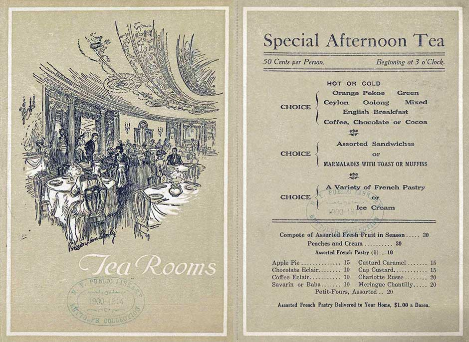 Tea Party Menus - 8 Scrumptious Vintage Tea Room Menus